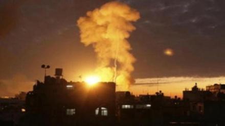 غزہ پٹی پر صیہونی جنگی طیاروں اور توپخانوں کا حملہ