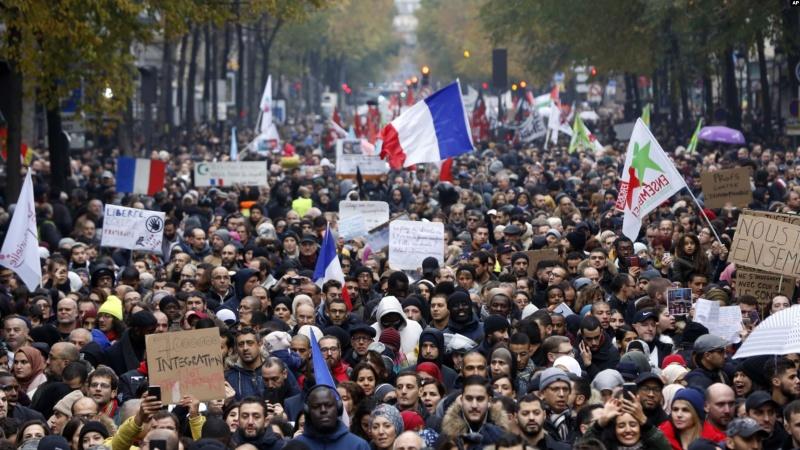 فرانس میں اسلاموفوبیا کے خلاف مظاہرے