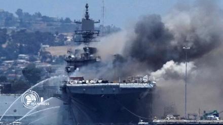 ABŞ hərbi gəmisi yanğınının bir neçə gün davam edəcəyi ehtimal edilir