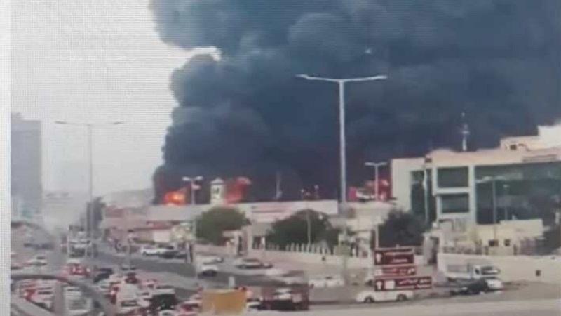 عجمان میں ایک مارکیٹ میں بھیانک آتش زدگي