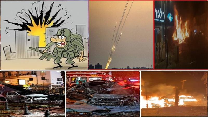 اسرائیل کا آئرن ڈوم  مکڑی کے جالے سے بھی زيادہ کمزور !!! تل ابیب میں آگ اور دھویں کے بادل، غداروں پر وحشت اور صہیونیوں پر بوکھلاہٹ طاری !