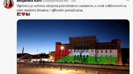 Sarajevska Vijećnica u bojama zastave Palestine
