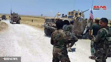 شامی فوج نے دہشتگرد امریکی فوجیوں کے کاروان کو کھدیڑا